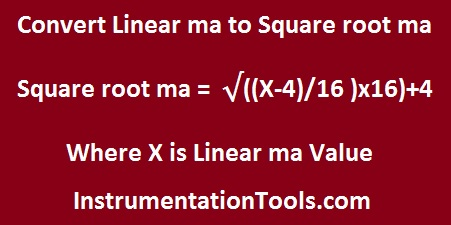Formula for Linear ma to Square root ma conversion