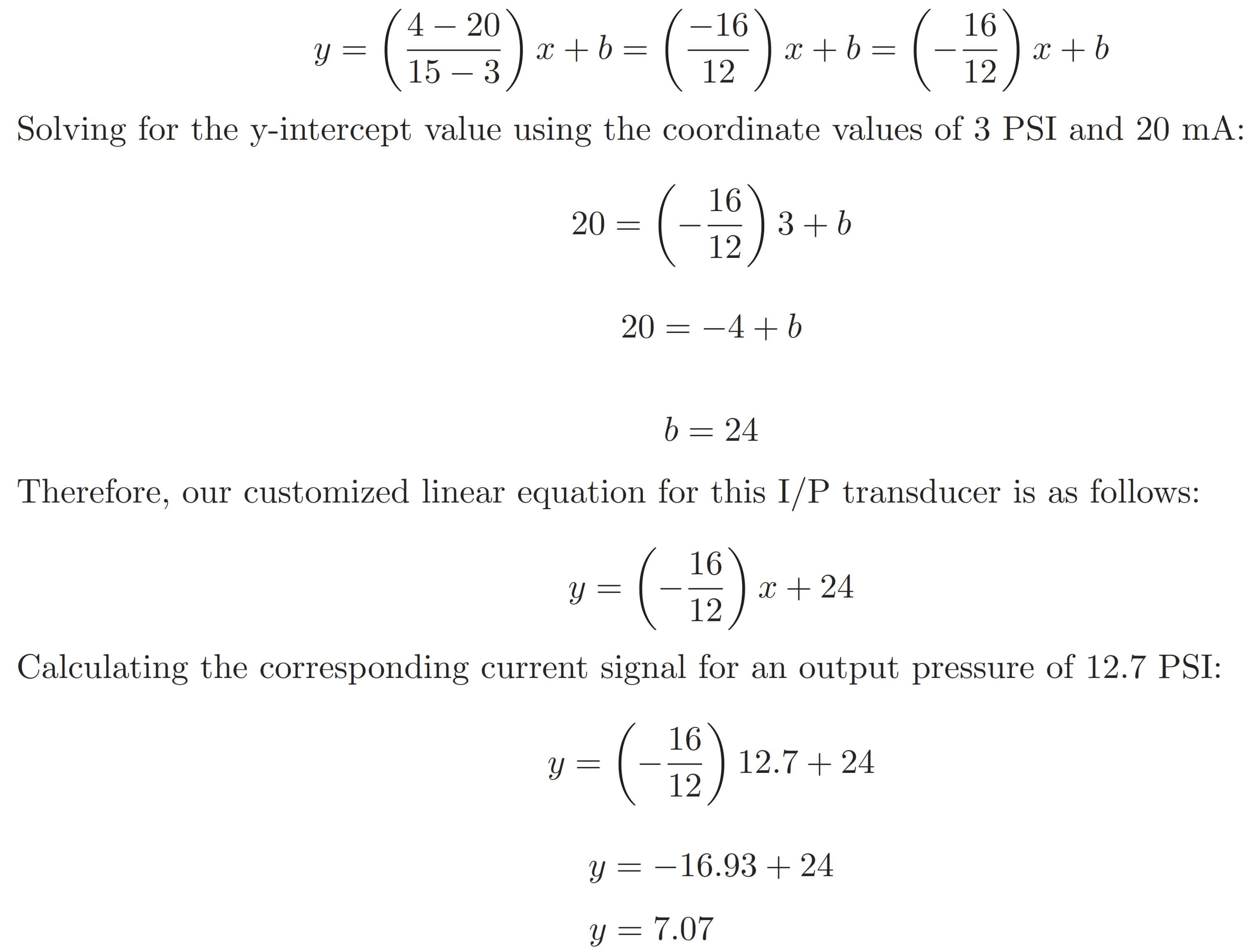 Formula 3-15 psi to 4-20mA Conversion