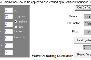 Valve Cv Rating Calculator