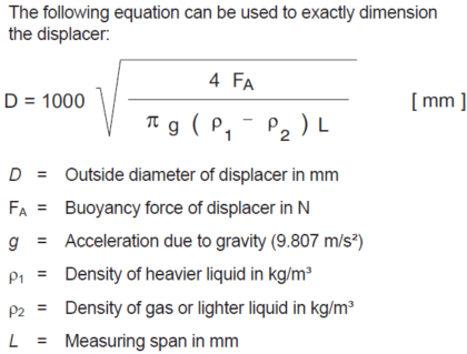 Displacer Level Formula
