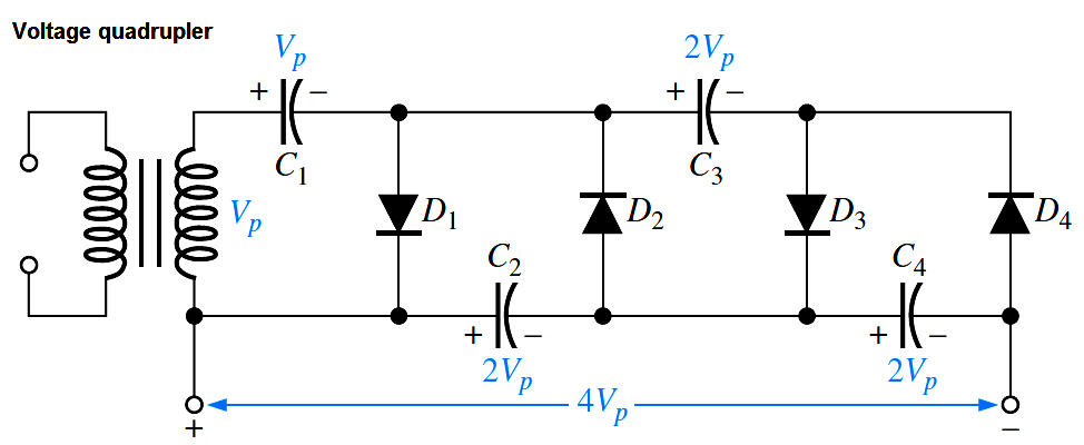 Diodes Voltage Quadrupler