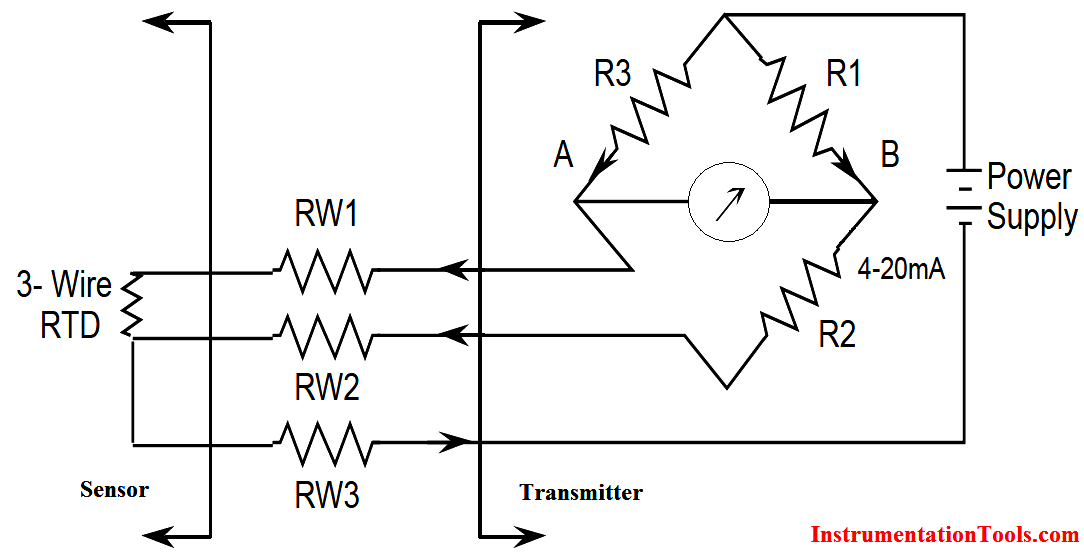 Three Wire RTD Wheatstone bridge Circuit