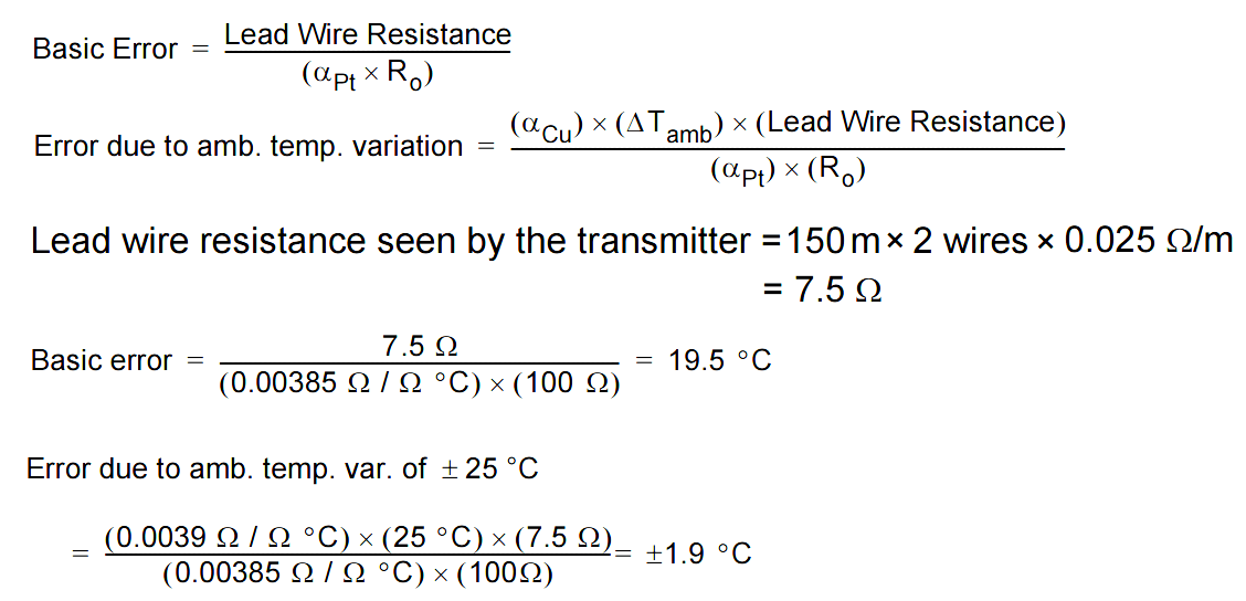 Two Wire RTD Lead Wire Resistance Error