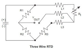 Three wire RTD Wiring