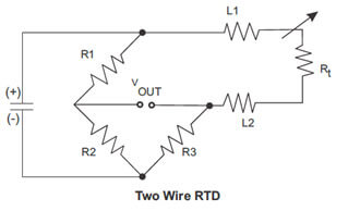 Two wire RTD Wiring