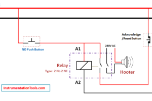 Relay Circuit for Hooter with Reset Button