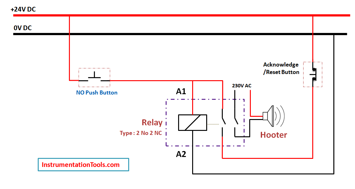 Relay Latching Circuit using Push on - Instrumentation Tools on