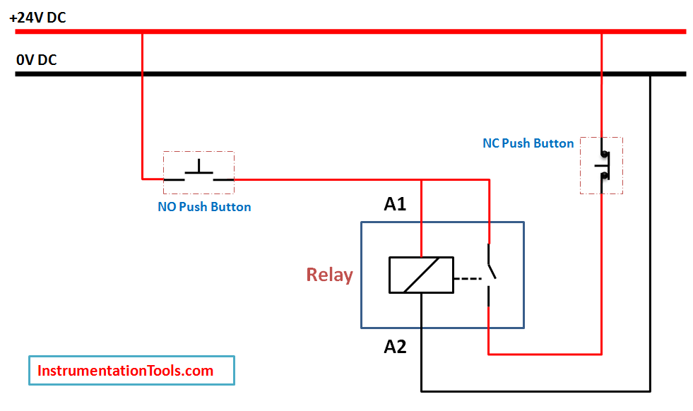 Relay Latching Circuit Using Push Button