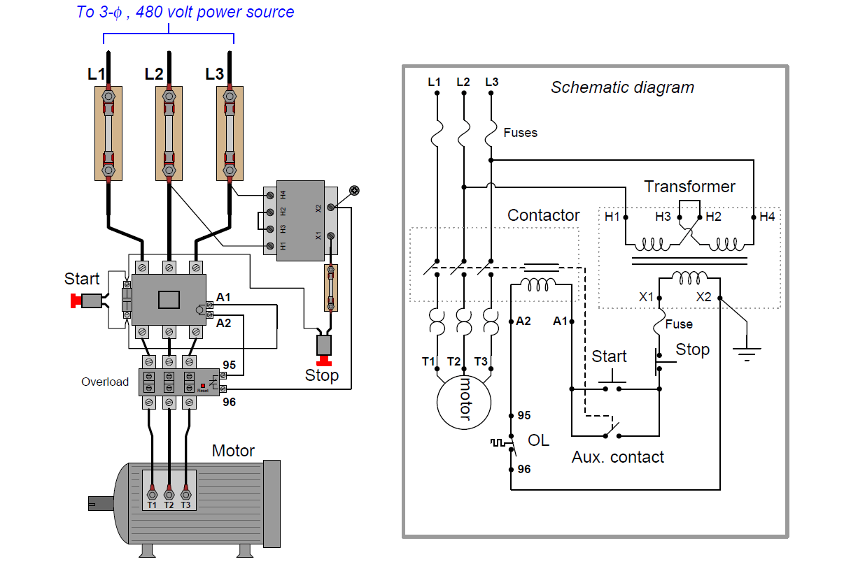 Motor Control Circuit Wiring - Instrumentation Tools | With Start Stop Switch Wiring Diagram Aux Contacts |  | Inst Tools