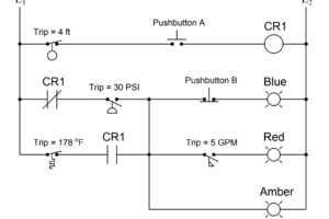 Determine the statuses of all lamps and relay coils in the circuit