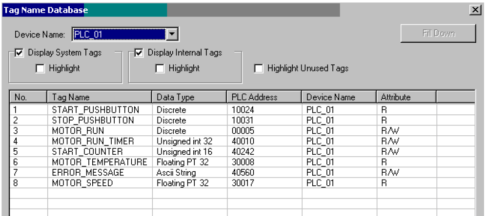 HMI database table