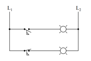 Identify which lamp in the following ladder-logic diagram