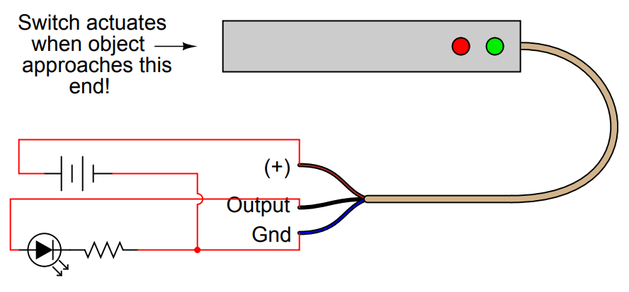 how to connect proximity switch source type to make led on instrumentation tools