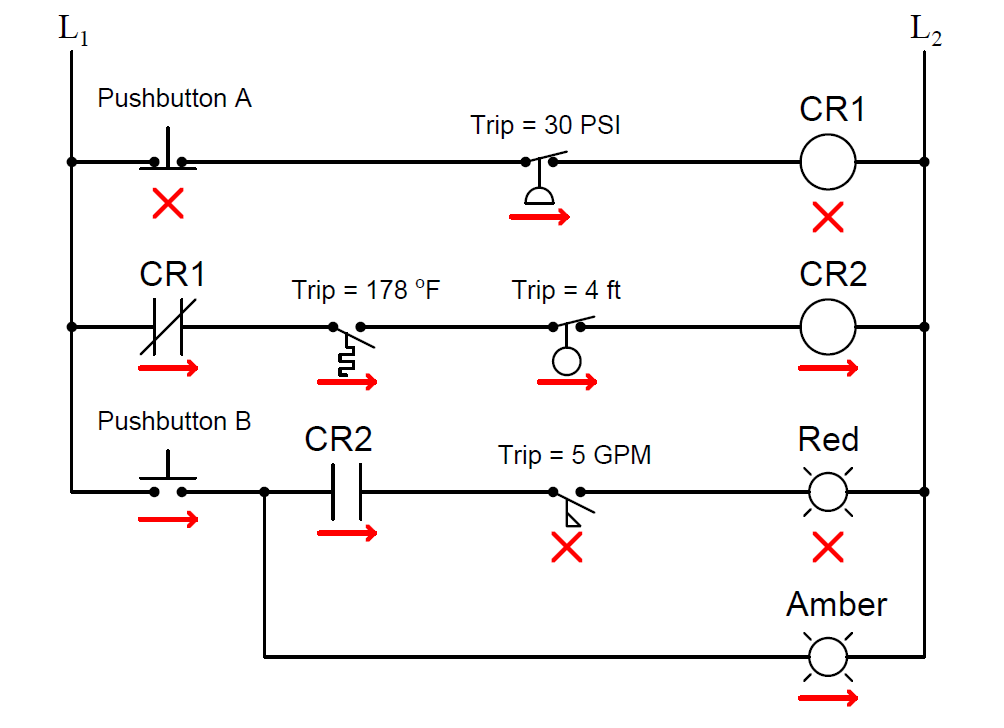 statuses of all lamps and relay coils in the circuit - 2