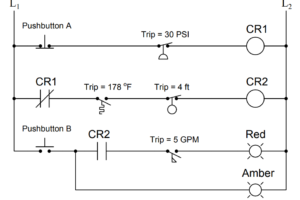 statuses of all lamps and relay coils in the circuit