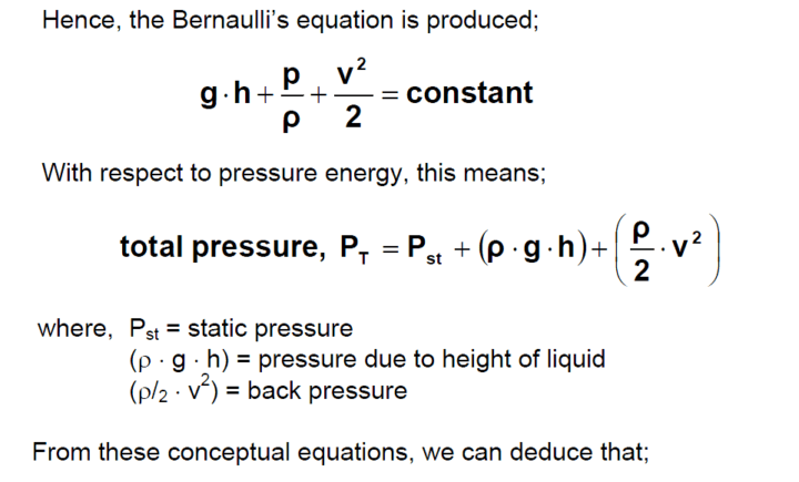 Bernaulli's equation