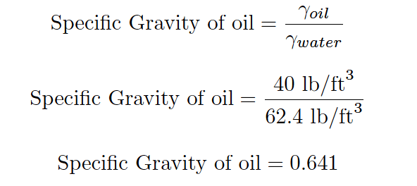 Specific Gravity of oil