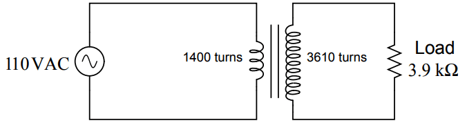 Calculate the source and load currents in this transformer circuit