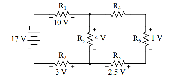 Determine the magnitude and polarity of the voltage