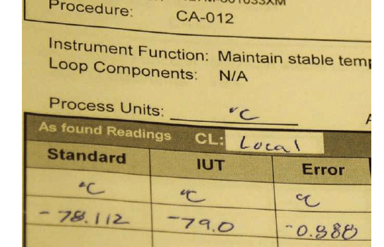 Instrument Calibration Record