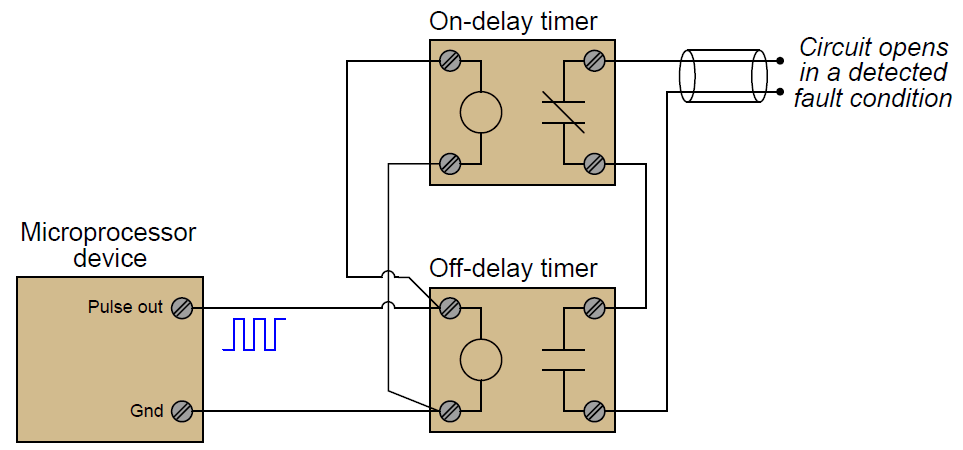 watchdog timer circuit using timing relays