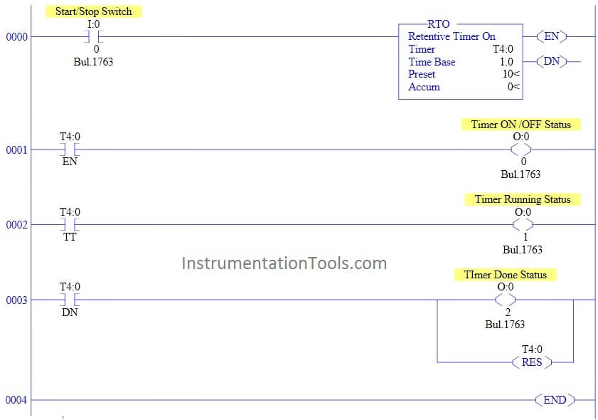 Retentive ON delay timer using PLC Logic