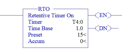 Retentive ON delay timer