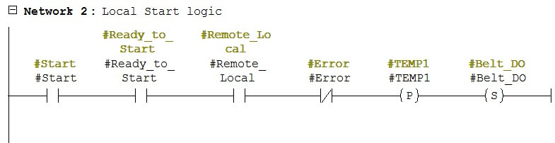 Local Start Logic in PLC
