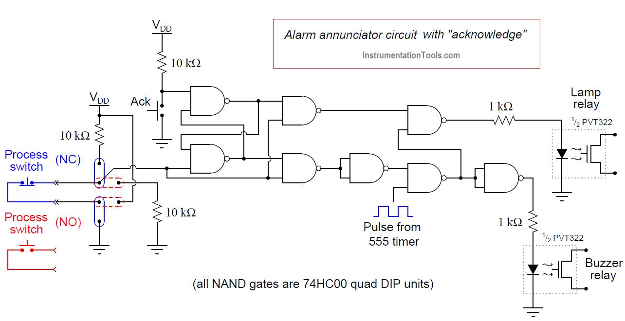 Alarm annunciator circuit with acknowledge