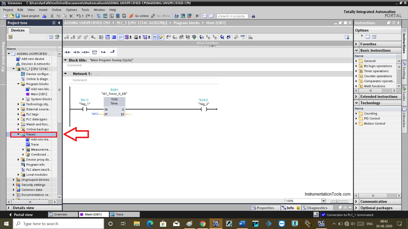 Tracing within a Siemens PLC